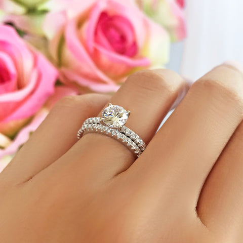 1.5 ctw Oval Halo Half Eternity Set