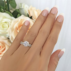 2.25 ctw 4 Prong Round Accented Solitaire Set