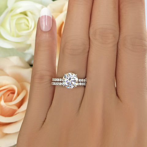 3.25 ctw Art Deco Round Accented Solitaire Set