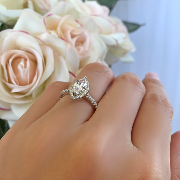 1.25 ctw Marquise Halo Ring