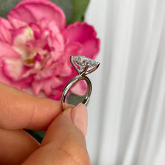 3.5 ct Radiant V Style Classic Solitaire Ring - 10k Solid White Gold