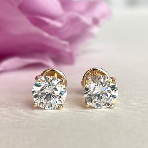 2 ctw 4 Prong Stud Earrings