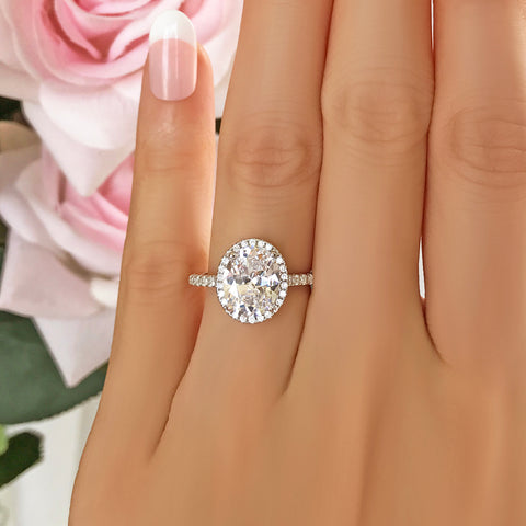 1 ctw Oval Halo Ring - Rose GP