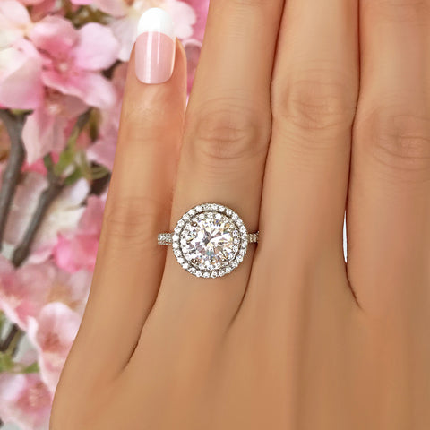 1.5 ctw Oval Double Halo Ring