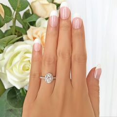 1.5 ctw Oval Halo Ring