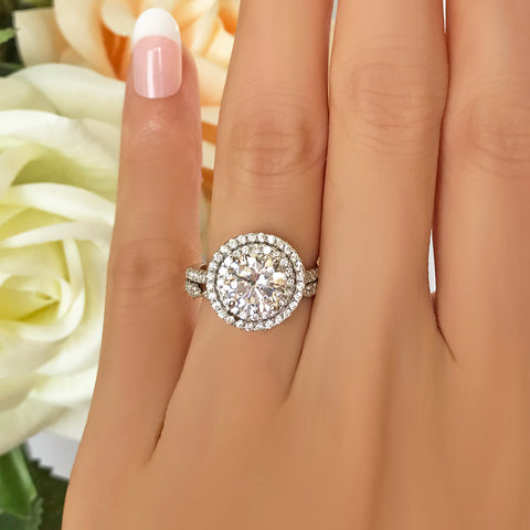 2.25 ctw Art Deco Halo Ring - 10k Solid Rose Gold