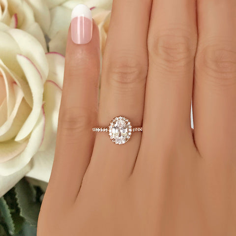 1.25 ctw Art Deco Halo Ring - Rose GP