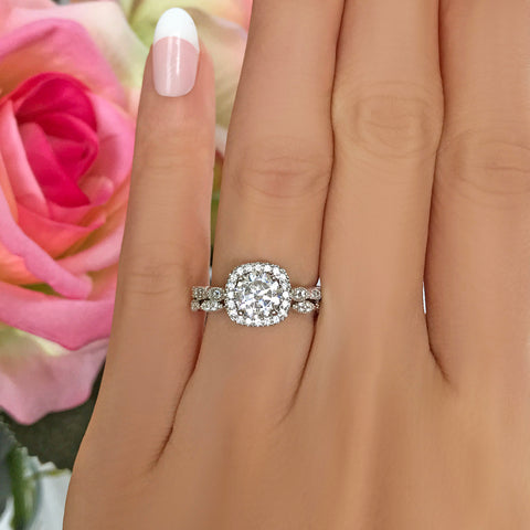 2.25 ctw Classic Round Halo Set - Rose GP, 40% Final Sale