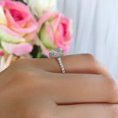 1.5 ctw Oval Halo Ring - 10k Solid White Gold