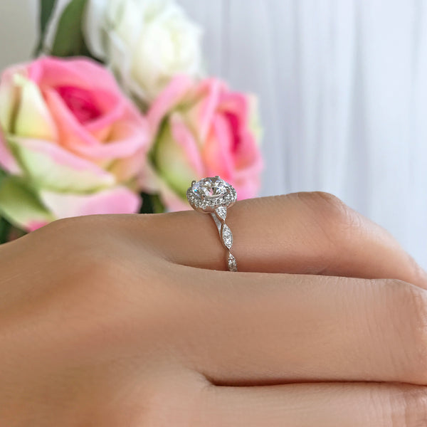 1.25 ctw Art Deco Halo Ring - 10k Solid White Gold
