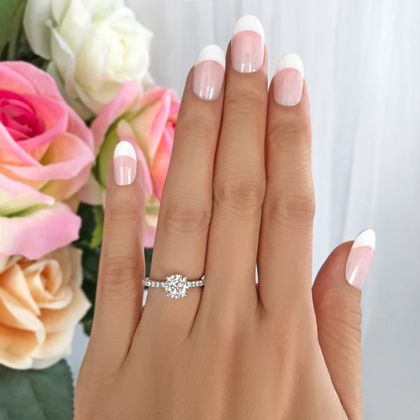 1.25 ctw Round Accented Ring - 10k Solid White Gold