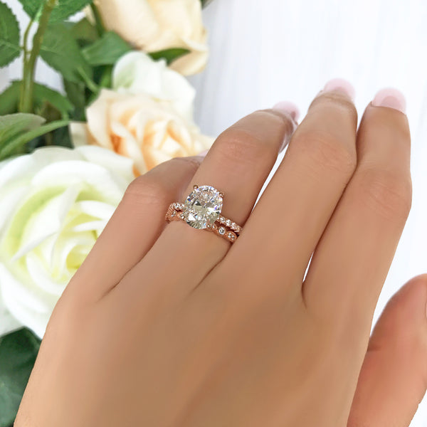 3.25 ctw Oval Accented Solitaire Art Deco Marquise Set - Rose GP