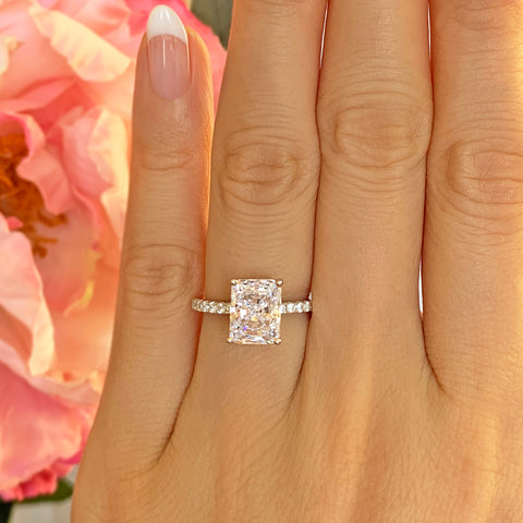 3 ctw Radiant Accented Solitaire Ring