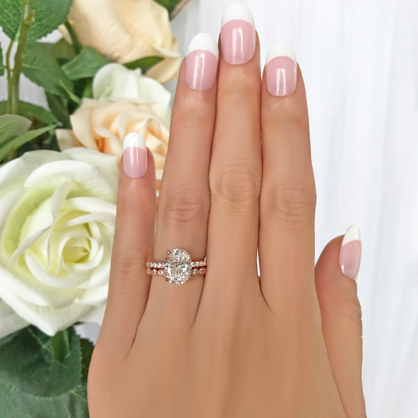 3.25 ctw Oval Accented Solitaire Art Deco Marquise Eternity Set - Rose GP