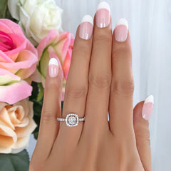 3/4 ctw Square Halo Ring - 10k Solid White Gold, 30% Final Sale