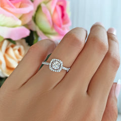 3/4 ctw Square Halo Ring - 10k Solid White Gold