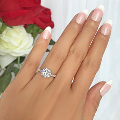 2.25 ctw 4 Prong Round Accented Ring - 10k Solid White Gold