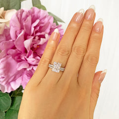 3.75 ctw Radiant Accented Solitaire Set