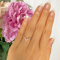 1/2 ctw V Style Chevron Band - Rose GP