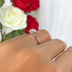 1 ct Classic Solitaire Ring - 10k Solid White Gold