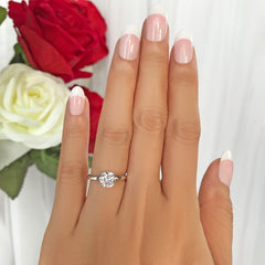 1 ct Classic Solitaire Ring - 10k Solid White Gold, Sz 5, 6, 8