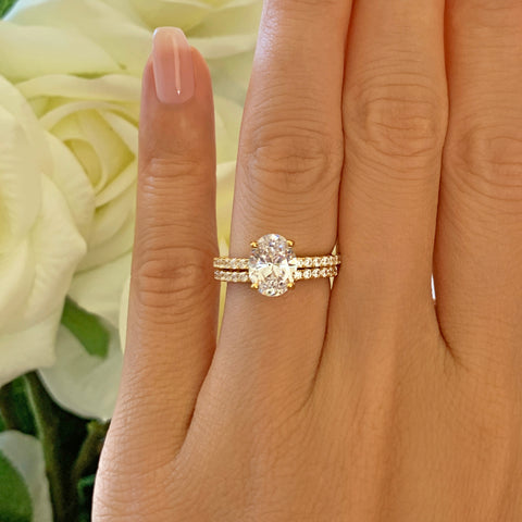 2.25 ctw Oval Accented Ring - 10k Solid Rose Gold, Sz 4 or 6