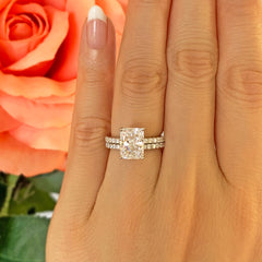 3 ctw Radiant Accented Solitaire Set