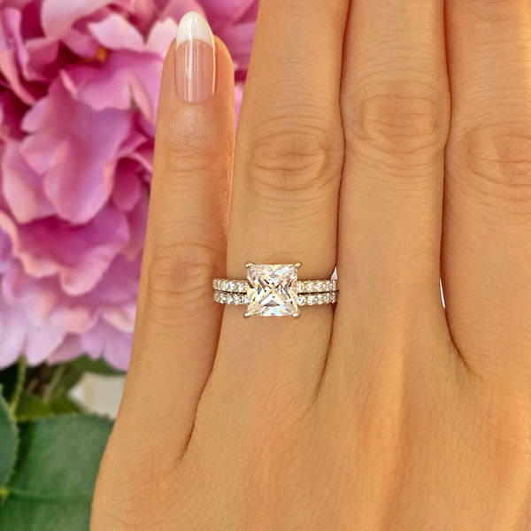 2.25 ctw Princess Accented Solitaire Set