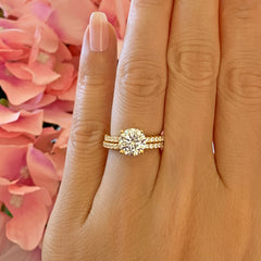 2.25 ctw Round Accented Solitaire Set - Yellow GP