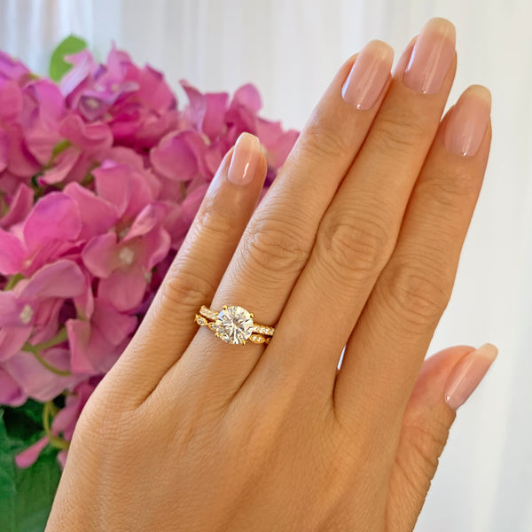 2.25 ctw Round Accented Solitaire Art Deco Set - Yellow GP