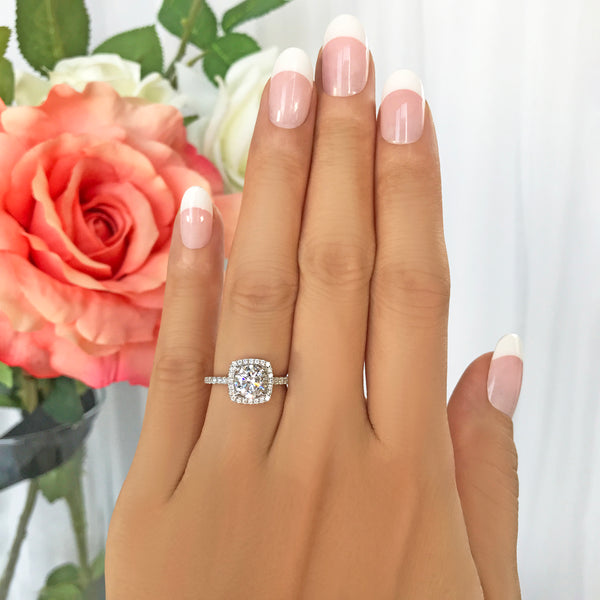 1.25 ctw Square Halo Ring - 10k Solid White Gold