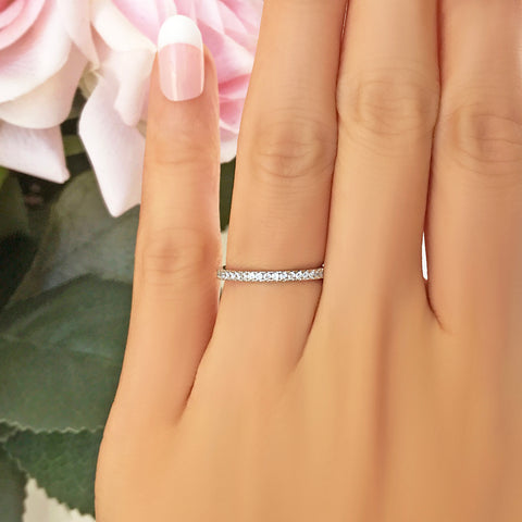 Half Eternity Band - 10k Solid White Gold