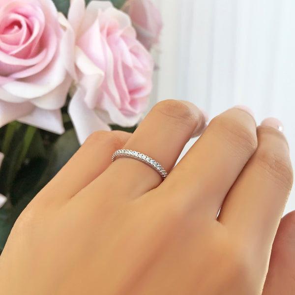 Half Eternity Band - 8k Solid White Gold