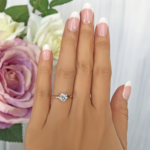 1/2 ct Solitaire Ring - 14k White Gold, Sz 5-7