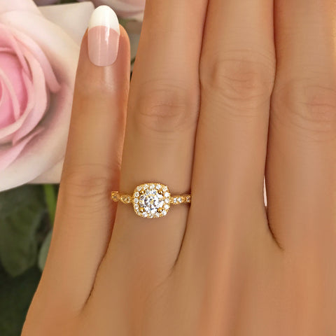 3 ct 6 Prong Solitaire Ring - Rose GP, 60% Final Sale, Sz 8.75-12