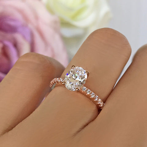 1.5 ctw Oval Halo Ring - 10k Solid Rose Gold