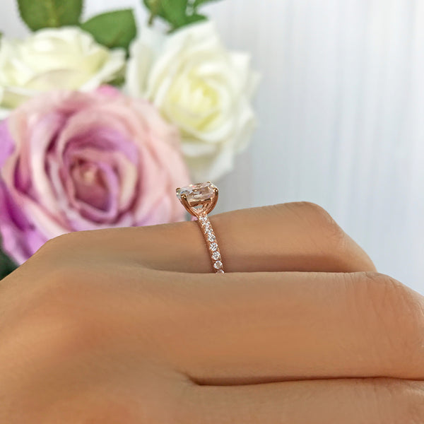 1.25 ctw Oval Accented Ring - 10k Solid Rose Gold