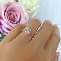 1.25 ctw Art Deco Halo Ring - 10k Solid Rose Gold