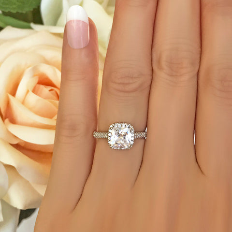 2.25 ctw 4 Prong Round Accented Solitaire Ring