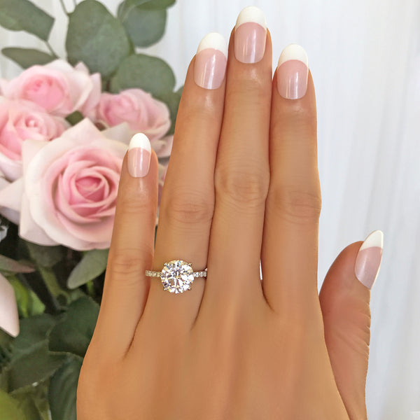3.25 ctw Round Accented Solitaire Ring - 10k Solid White Gold