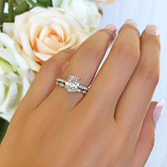2.25 ctw Art Deco Oval Accented Solitaire Set