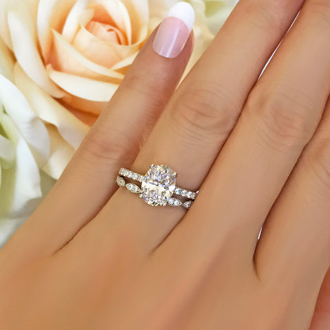 3.25 ctw Art Deco Oval Accented Bridal Set