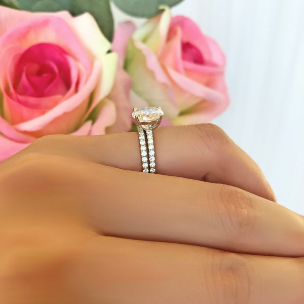 2.25 ctw Oval Accented Solitaire Set