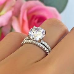 3.25 ctw Round Accented Solitaire Set