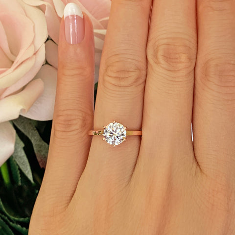 1 ct Floral Engraved Solitaire Ring - 14k White Gold, Sz 7.5