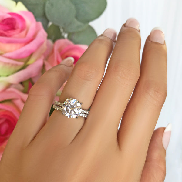 3.25 ctw Half Eternity Round Accented Solitaire Set