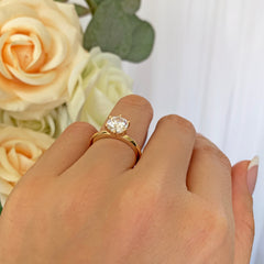 1.5 ct 6 Prong Solitaire Ring - 10k Solid Yellow Gold