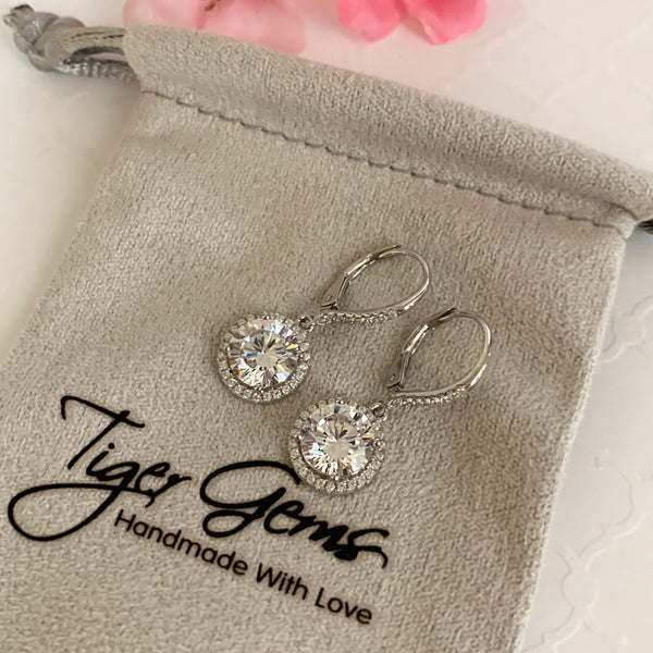 4 ctw Round Dangle Halo Earrings - 40% Final Sale