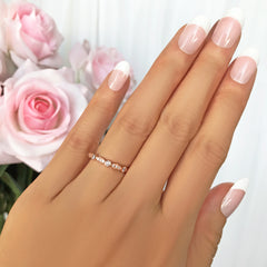 Bezel Set Art Deco Marquise Eternity Band - 8k Solid Rose Gold