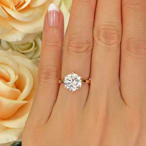 3 ct 6 Prong Stacking Solitaire Ring - Rose GP